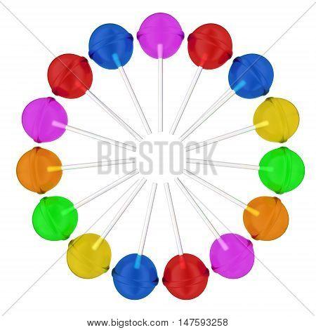 Lollipops set on a white background. 3D illustration.