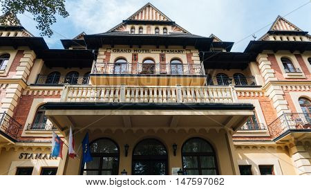 ZAKOPANE, POLAND - SEP 2, 2016: Pension Stamary built in 1904 by architect Eugeniusz Wesolowski, since 2005 after renovation as Grand Hotel Stamary offers 53 rooms