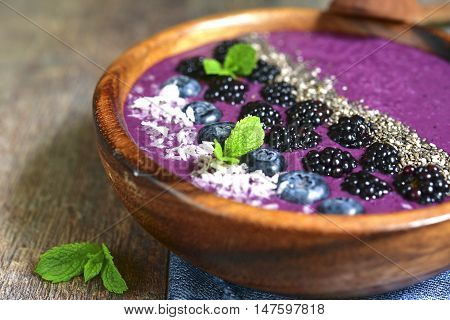 Berry Smoothie In A Wooden Bowl.top View.