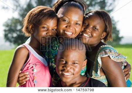 happy african mother and her children