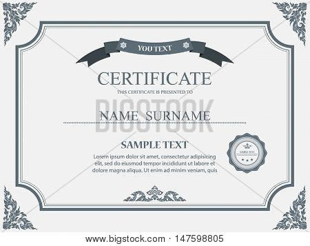 Certificate template, Certificate of achievement, Diploma template. Vector