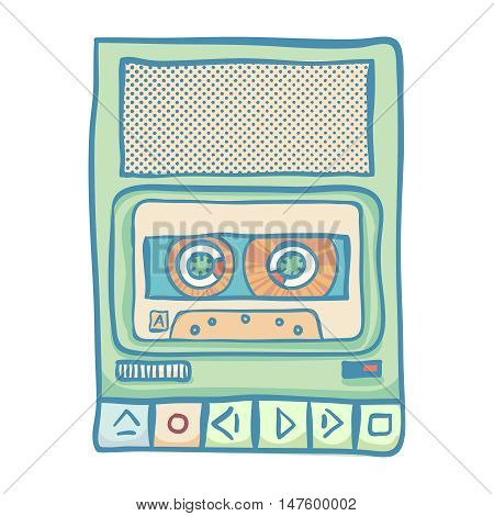 Cassette tape recorder. Handheld tape recorder, hand drawn retro illustration, isolated on white. Suitable for banner, ad, t-shirt design. Vintage design element