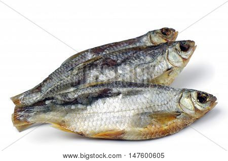 Dried fish on a white background close up