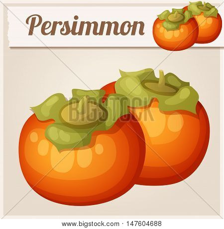 Persimmon fruit. Cartoon vector icon. Series of food and drink and ingredients for cooking.