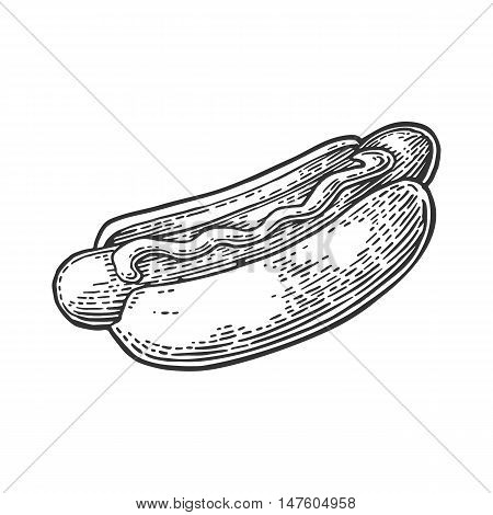 Hotdog. Isolated on white background. Vector vintage engraving illustration for poster, menu, web, banner, info graphic