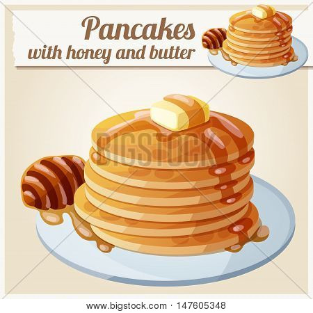 Pancakes with honey and butter. Cartoon vector icon. Series of food and drink and ingredients for cooking.