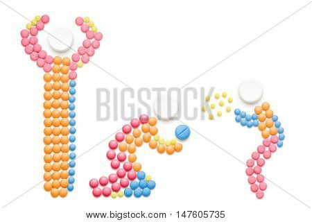Creative health concept made of drugs isolated on white. Sick child sneezing and spreading disease on adult.
