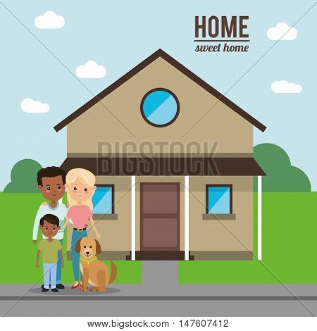 House mother father son and dog icon. Home family and real estate theme. Colorful design. Vector illustration