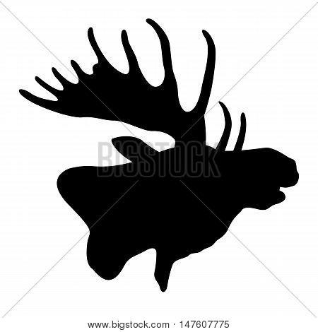 Moose head profile vector illustration black silhouette
