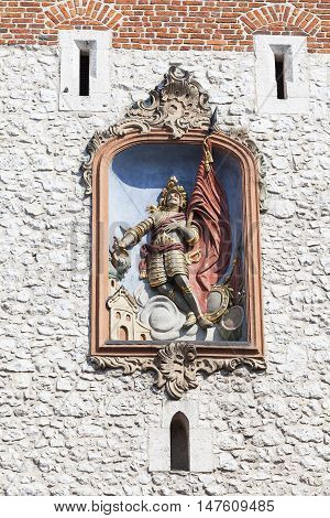 Relief of St. Florian on Florian Gate Old Town Krakow Poland