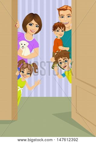happy family peeking behind the door. Vector illustration
