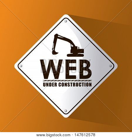 Hydraulic excavator and road sign icon. Under construction and repair theme. Isolated design. Vector illustration
