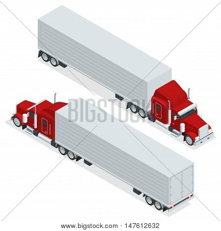 Isometric American Show truck tractor. Transporting large loads over long distances. Logistics network. Intermodal freight transport