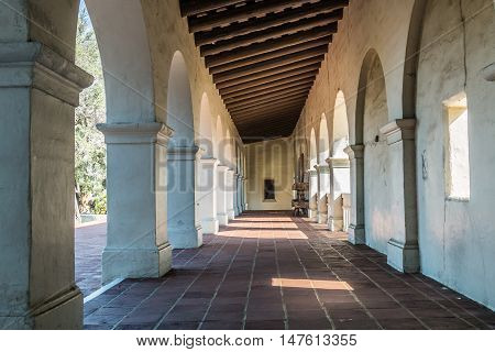 SAN DIEGO, CALIFORNIA - AUGUST 13, 2016: Hallway of Serra Mission Museum in Old Town, the former site of a fort and the first European settlement on the Pacific Coast, established in 1769.