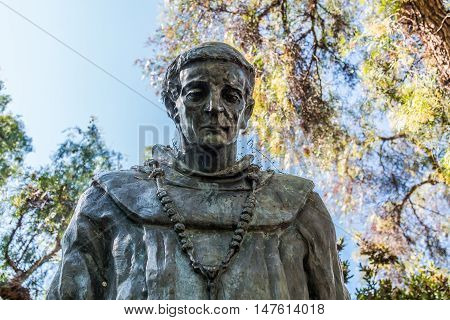 SAN DIEGO, CALIFORNIA - AUGUST 13, 2016: Front view of statue of Father Junipero Serra at the Serra Mission Museum, the former site of a fort and the first European settlement on the Pacific Coast.