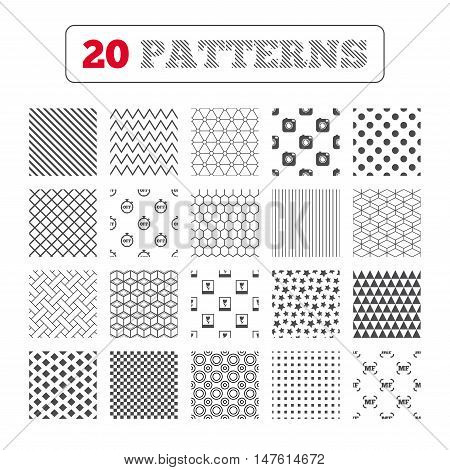 Ornament patterns, diagonal stripes and stars. Hipster retro photo camera icon. Manual focus symbols. Stopwatch timer off sign. Macro symbol. Geometric textures. Vector