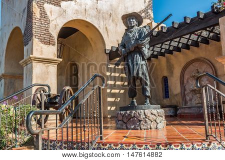 SAN DIEGO, CALIFORNIA - AUGUST 13, 2016: Statue of soldier at the Mormon Battalion historic site in Old Town, honoring the Mormons soldiers who fought during the Mexican War in 1847.