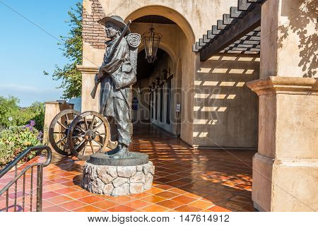 SAN DIEGO, CALIFORNIA - AUGUST 13, 2016: Statue in front of the Mormon Battalion historic site in Old Town, honoring the Mormons soldiers who fought during the Mexican War in 1847.