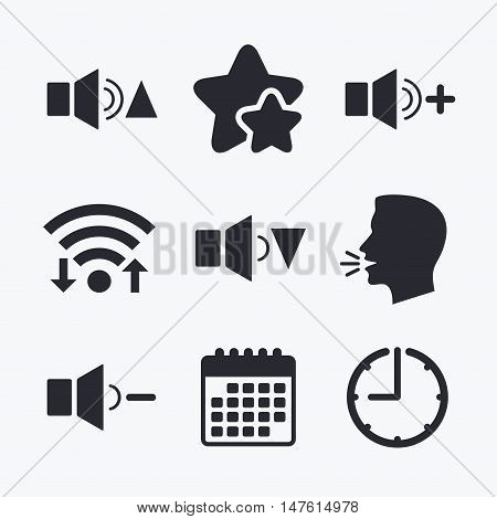 Player control icons. Sound louder and quieter signs. Dynamic symbol. Wifi internet, favorite stars, calendar and clock. Talking head. Vector