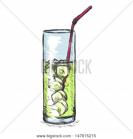 Vector Color Sketch Glass Of Lemonade