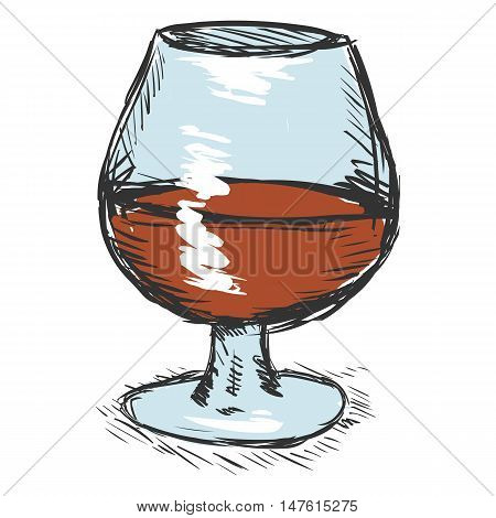Vector Color Sketch Glass Of Cognac