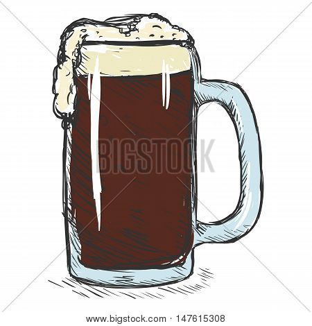 Vector Color Sketch Tankard Of Beer