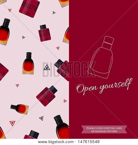 Double sided modern greeting card for man. Seamless pattern. Male fragrance. Eau de toilette. Perfume for men. Vector illustration