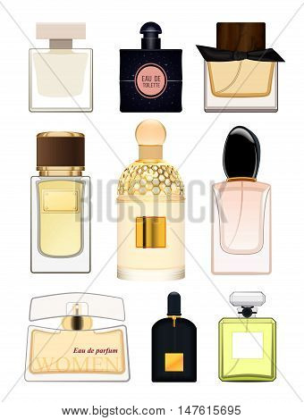 Set perfume bottle on white background. Perfume bottle for women. Female fragrance. Eau de toilette. Vector illustration