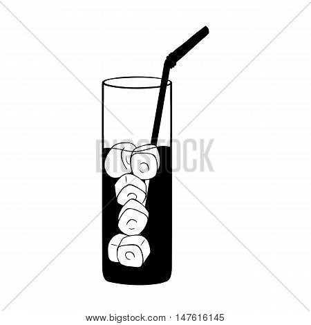 Vector Glass Of Lemonade On The Rocks With A Straw