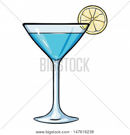 Vector Cartoon Blue Cocktail With Lime