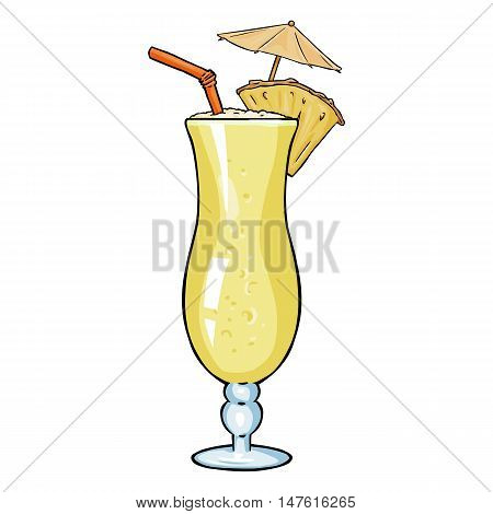 Vector Cartoon Cocktail Pinot Colada With Pineapple, Umbrella And Straw.