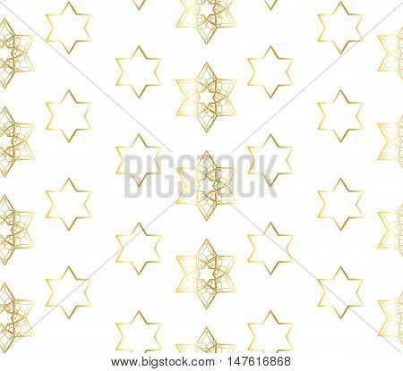 Star of David pattern. Gold stars on white background. Seamless pattern, vector illustration. Rosh Hashanah Jewish New Year 5777 background, Sukkot, Jewish holidays. Israel