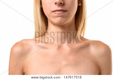 Protruding Collar Bones Of An Anorexic Young Woman