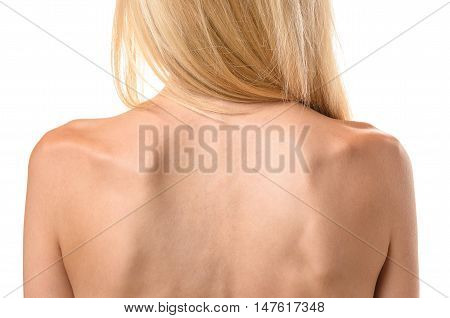 Rear View Of The Back Of A Thin Woman