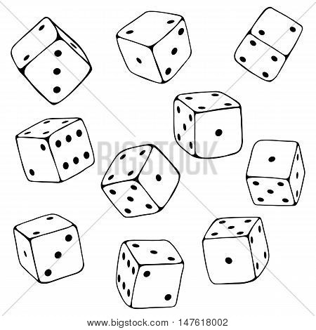 Vector Set Of Line Art Dices.