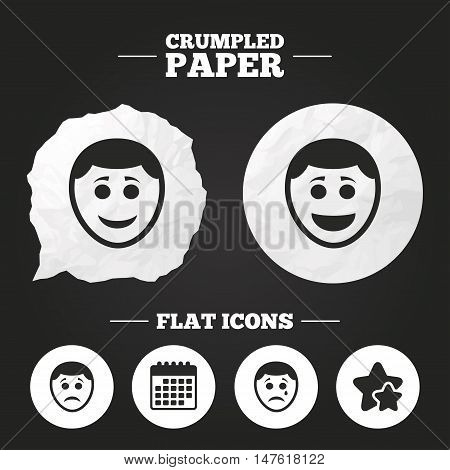 Crumpled paper speech bubble. Human smile face icons. Happy, sad, cry signs. Happy smiley chat symbol. Sadness depression and crying signs. Paper button. Vector