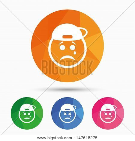 Sad rapper face with tear sign icon. Crying chat symbol. Triangular low poly button with flat icon. Vector
