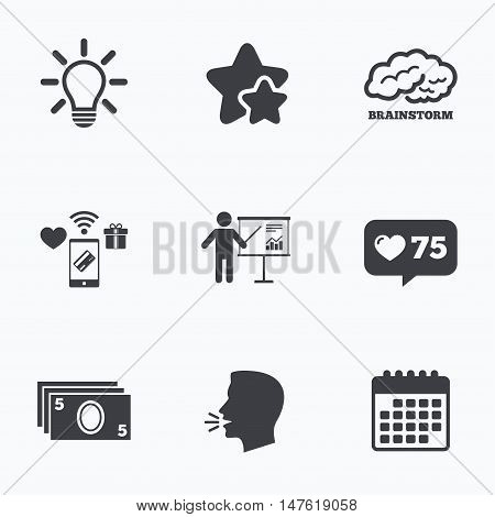 Presentation billboard, brainstorm icons. Cash money and lamp idea signs. Man standing with pointer. Scheme and Diagram symbol. Flat talking head, calendar icons. Stars, like counter icons. Vector