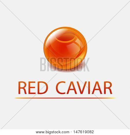 Red Caviar vector illustration. Sea food logo. Orange sphere.