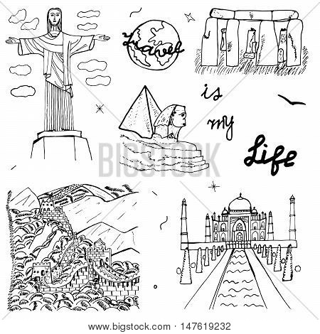 Hand drawn world architecture. Ideal Quality Sketch art. Doodle symbol: Jesus, Sphinx, Great Wall, Taj Mahal, Stonehenge. Set of the famous European monuments. Drawing design. Vector illustration.