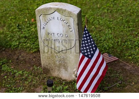 Columbia Pa - June 11 2016: A grave of a Federal Soldier that served in the United States Color Troops (USCT) in Zion Hill Cemetery.
