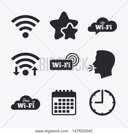 Free Wifi Wireless Network cloud speech bubble icons. Wi-fi zone sign symbols. Wifi internet, favorite stars, calendar and clock. Talking head. Vector