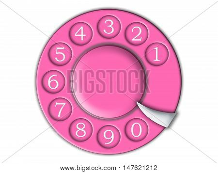 The pink dial of the retro telephone
