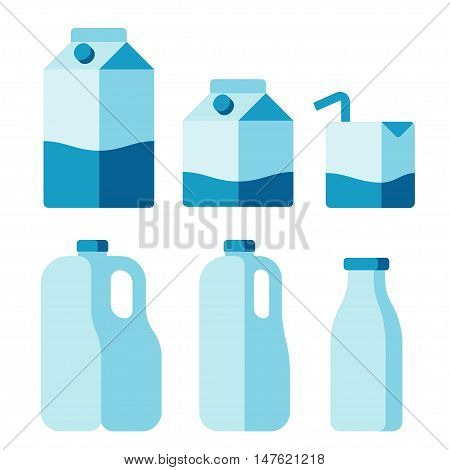 Set of milk container icons. Cartons plastic jugs and glass bottle. Isolated flat vector illustration.