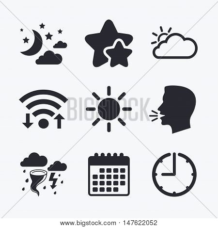 Weather icons. Moon and stars night. Cloud and sun signs. Storm or thunderstorm with lightning symbol. Wifi internet, favorite stars, calendar and clock. Talking head. Vector
