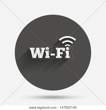 Free wifi sign. Wifi symbol. Wireless Network icon. Wifi zone. Circle flat button with shadow. Vector