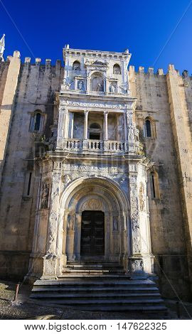 Renaissance Porta Especiosa on the North facade of the Old Cathedral or Se Velha (12th Century) of Coimbra Portugal