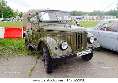 Kharkiv Ukraine - May 22 2016: Soviet retro car GAZ-69A manufactured in 1960's is presented at the festival of vintage cars Kharkiv Retro Rally - 2016 in Kharkiv Ukraine on May 22 2016