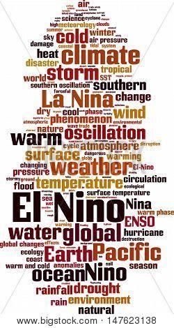 El Nino word cloud concept. Vector illustration