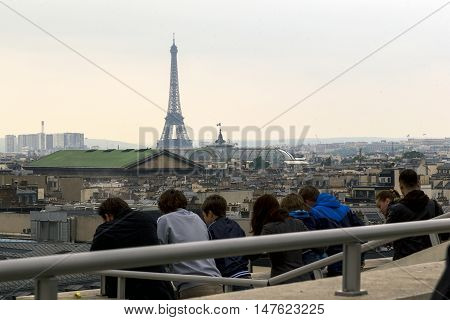 PARIS, FRANCE - MAY 15, 2015: This is aerial view of Paris from the roof of the shopping center Galeries Lafayette.